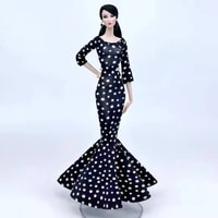 16 bjd dolls accessories classic black longsleeve dotted polka dress for barbie clothes princess mermaid party gown kids toy