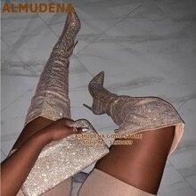 ALMUDENA szampański kryształ zakolanówki buty błyszczący kryształ górski buty na obcasie buty za kolano buty na obcasie buty sukienka