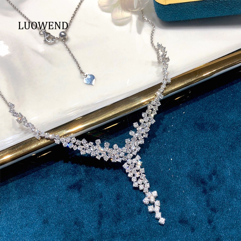 LUOWEND 18K Solid White Gold Necklace Real Natural Diamond Women Engagement Wedding...