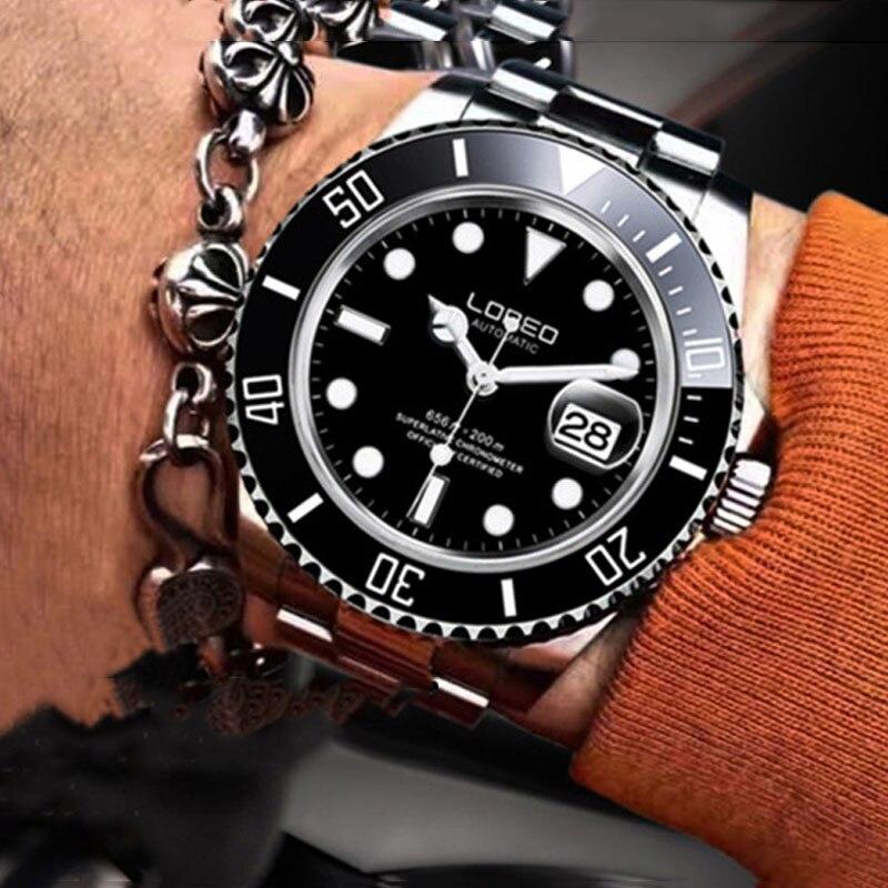 LOREO العلامة التجارية العسكرية الرياضة ووتش الرجال أزياء ووتش الرجال الساعات التلقائي الميكانيكية ساعة الرجال ووتش للماء 200M relojes