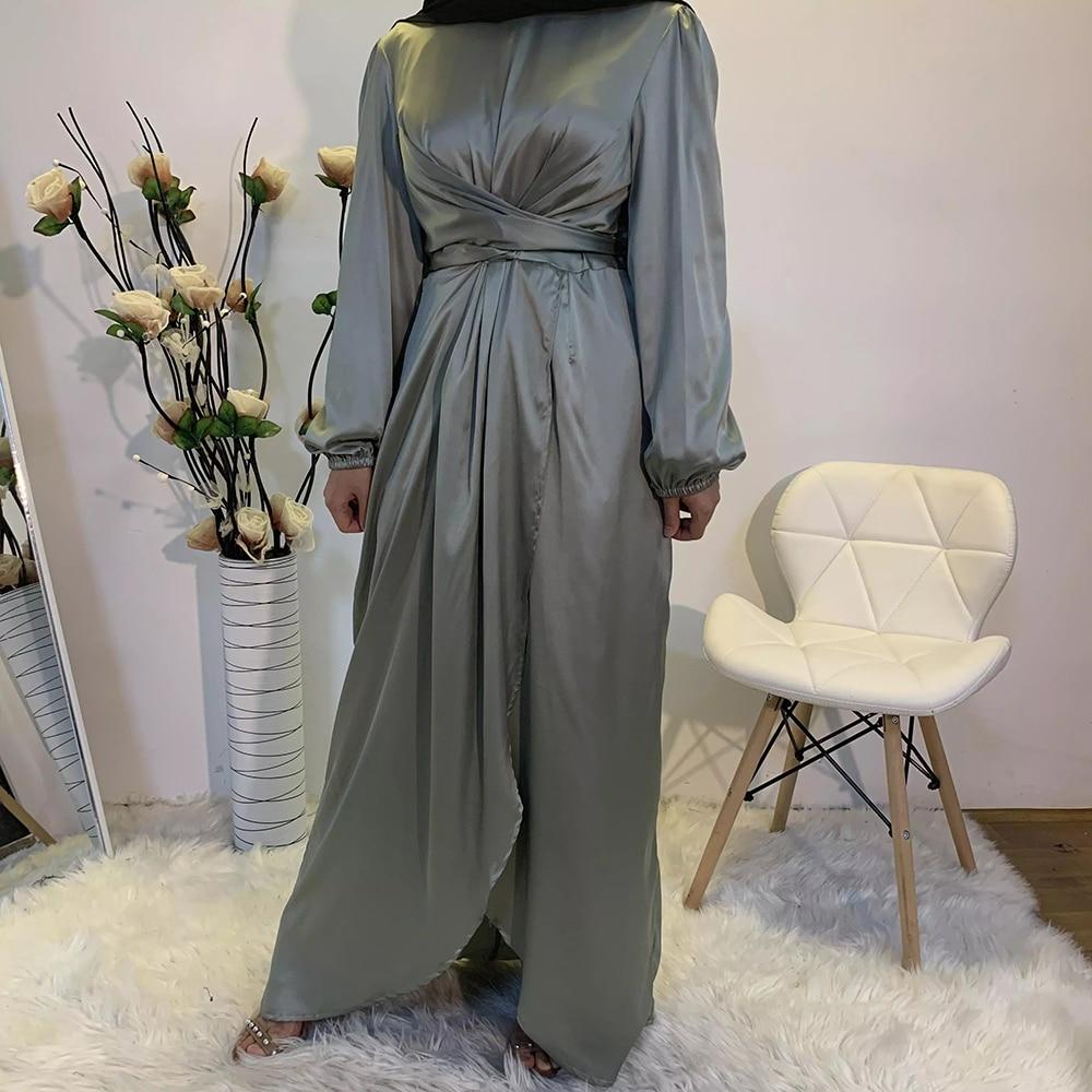 عباية-فستان حجاب من الساتان للنساء المسلمات ، ملابس إسلامية من الهند ، أوروبي وأمريكي ، عباية من دبي وتركيا ، عمان