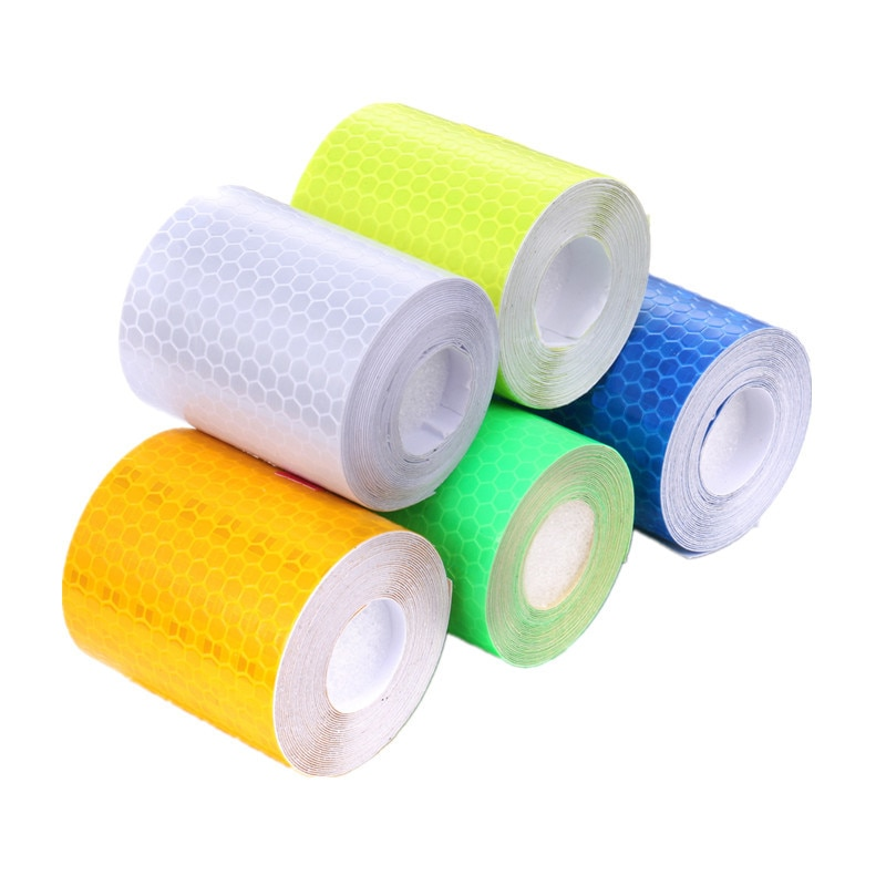 1 Roll 5cmx100cm Car Reflective Tape Stickers Warning Tape Sticker Road Safety Tape for Bicycle Car Pedestrian Protection