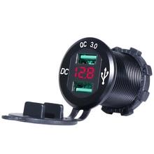 QC 3,0 Dual USB Ladegerät Wasserdichte Marine 18W & 18W (36W) mit Voltmeter für 12V/24V Auto RV Boot UTV, ATV, Motorrad Handy etc