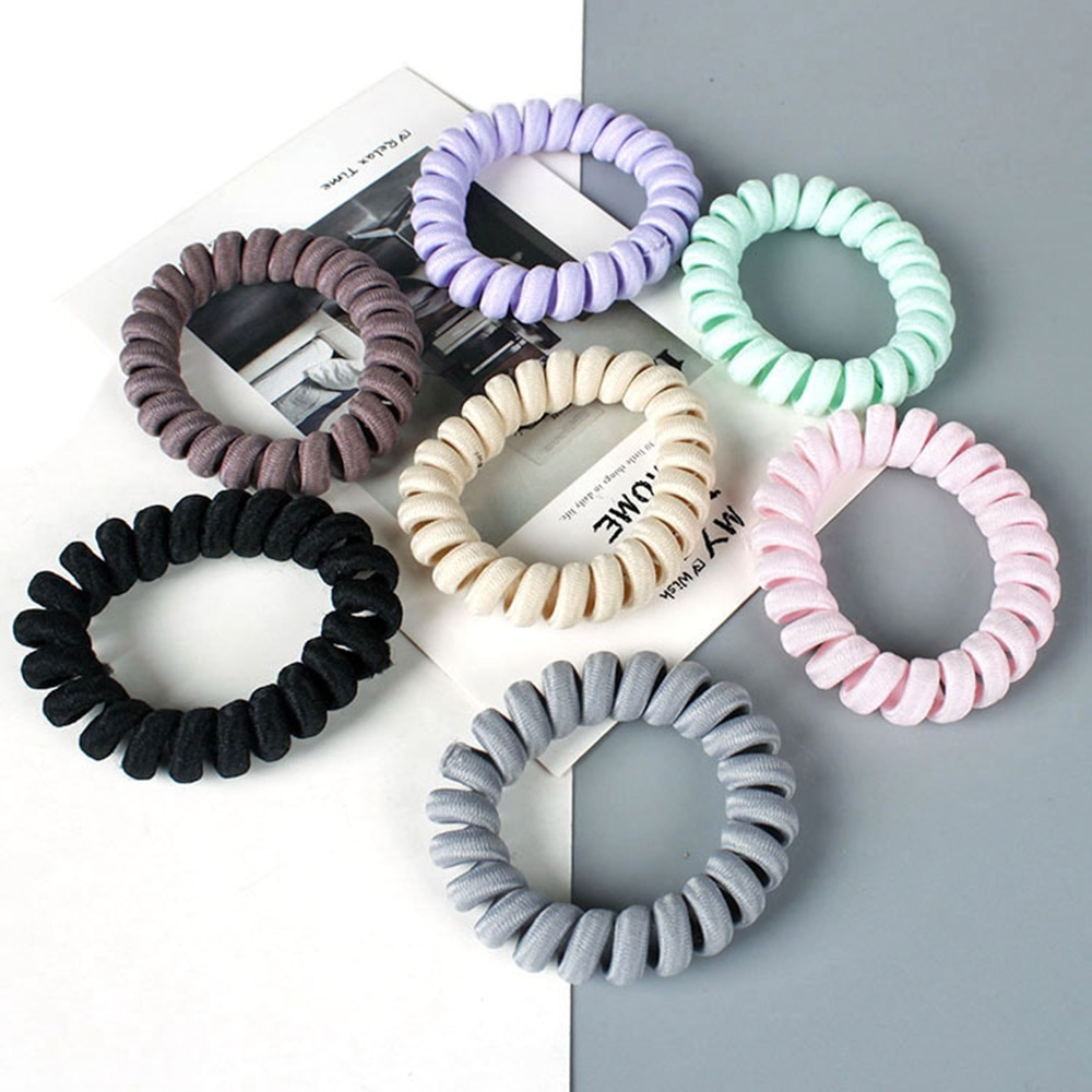 1 PC. 7 couleurs élasticité téléphone bobine bandeaux femmes spirale cheveux cravates filles cheveux anneaux anneaux téléphone fil cheveux accessoires