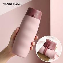 NANGUFANG/silica gel folding water bottle 600ml portable plastic water bottle for outdoor sports hik