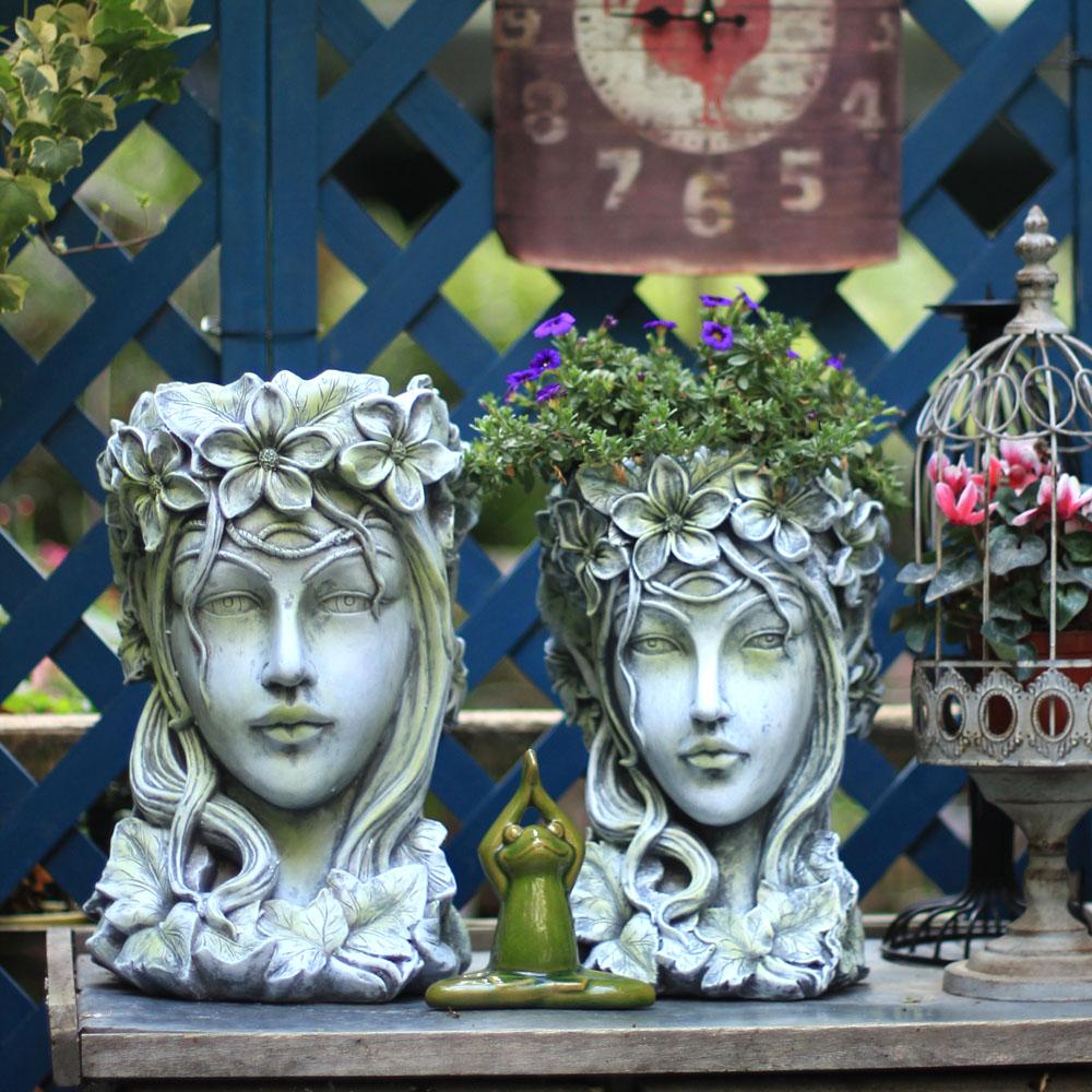 Creative Country Retro Human Head Succulents Flower Pot Decor Modern Venus Goddess Art Pot Vase Home Garden Outdoor Decor R2935