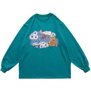 Daisy Bear Printed T-shirt Men Loose Hip hop Streetwear Men's Long Sleveve Tshirts Harajuku Casual Fashion Tees Shirts Male Tops