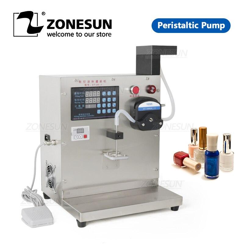 ZONESUN Semi Automatic Filling Machine Peristaltic Pump Nail Polish Thick Liquid Honey Single Nozzle Pigment Vial Bottle Filler