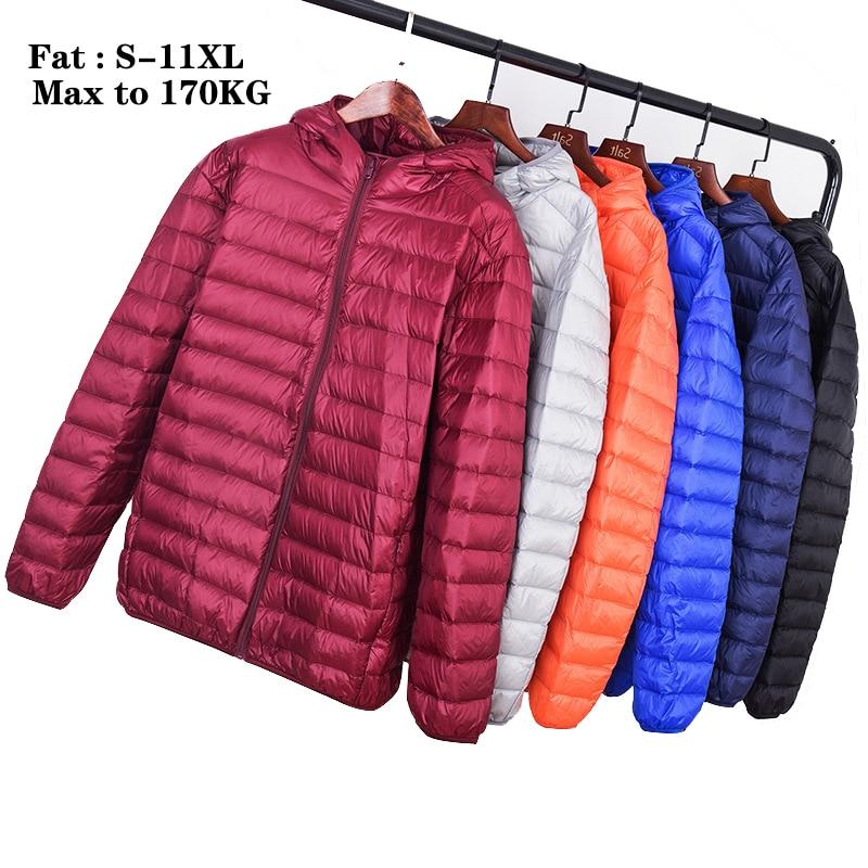 Plus size 11XL 10XL Men Winter Coat Top Quality Men's Ultra Light Down Jacket 90% White Duck Down Men's Hooded Portable Jacket