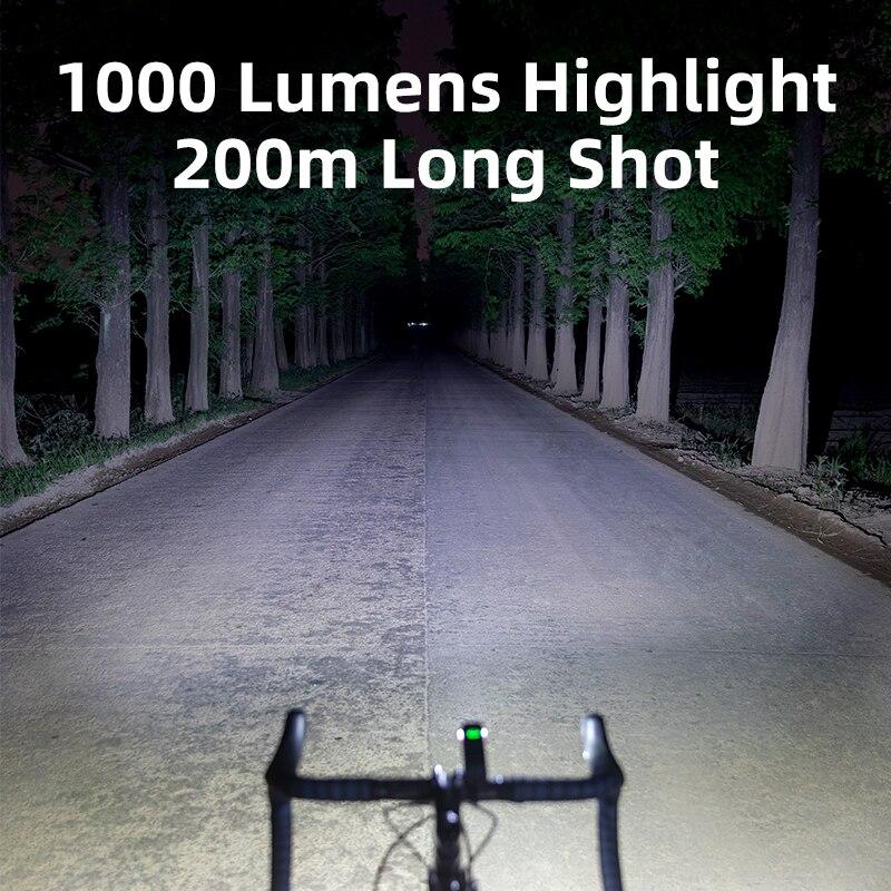 ROCKBROS 1000LM Bike Light Front Lamp USB Rechargeable LED 4800mAh Bicycle Light Waterproof Headlight Bike Accessories