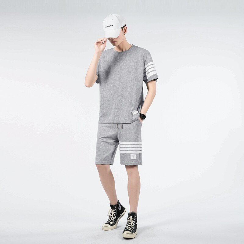 Men Clothing 2021 T-Shirts Shorts Clothes Men's Sets New Summer Two Piece Outfits Plus Size Sweatpants Designer Tracksuit Korean