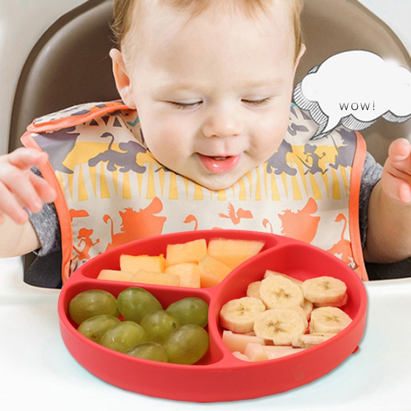 Multifunctional chuck baby tableware sucker feeding dinner dishes silicone plate with suction cup strong sticky divided tray