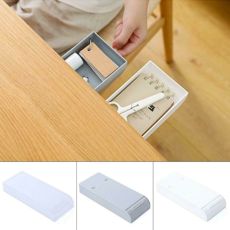 Self-adhesive under desk drawer Makeup Organizer Pencil Tray pen holder desktop sundries storage box School Stationery Supplies