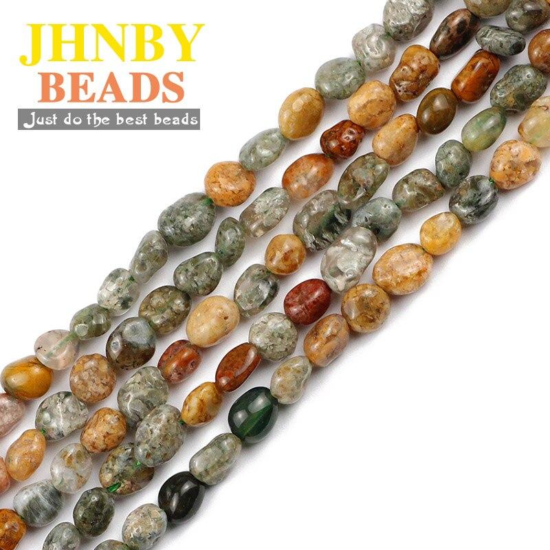 JHNBY Ocean Jasperr Natural Stone 4~8mm 15'' Irregular Gravel spacers Loose beads for Jewelry bracelets making DIY accessories