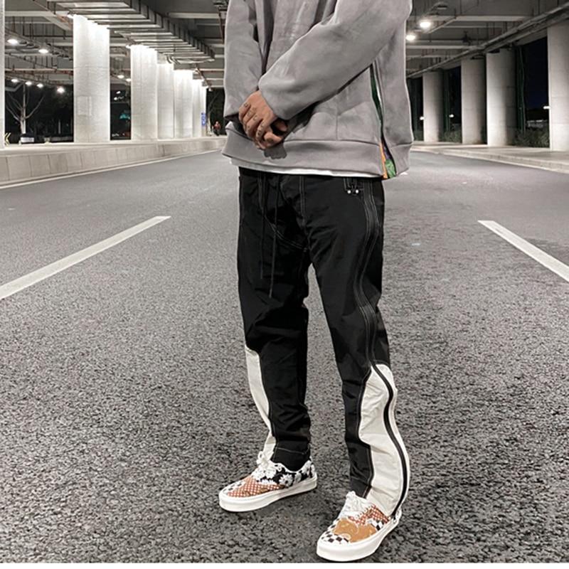 Korean Hgh Street Color Block Side Zipper Cargo Pants Mens Drawstring Straight Loose Casual Track Pants Hip Hop Baggy Trousers