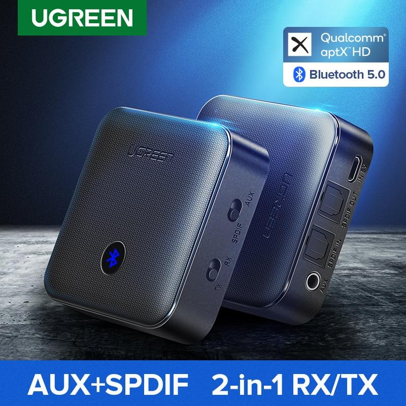 UGREEN Bluetooth 5.0 Receiver Transmitter aptX HD CSR8675 for TV Headphones Optical 3.5mm SPDIF Blue