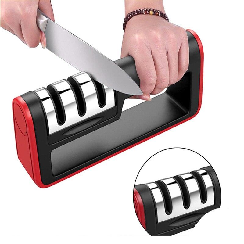 Afilador de cuchillos profesional de 3 etapas afilador de piedra amoladora de piedra para afilar cuchillos afilador de cerámica de diamante de tungsteno herramienta