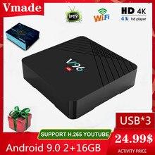 Android 9.0 2 Gb 16 Gb 2.4G Wifi Smart Tv Box Hd 4K Google Tv Media Player V96 h6 Max Youtube Netflix Iptv Mini Set-Top Box