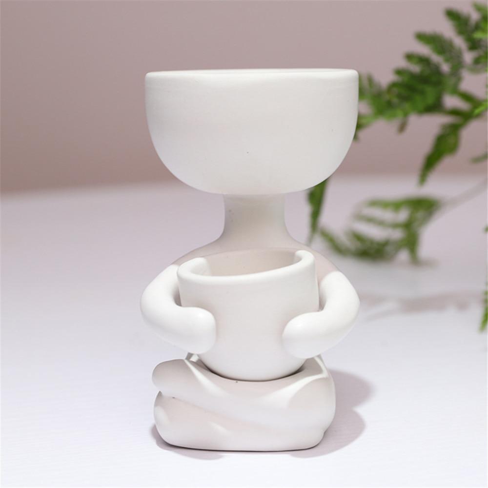Vază creativă umanoidă din ceramică pentru vase cu flori vase - Produse de grădină - Fotografie 5