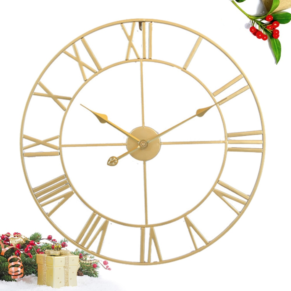 Iron Silent Wall Clock Simple Wall Clock Decor Home Decorative Wall Clock Living Room Wall Clock (Golden Embryo Golden Stitches)