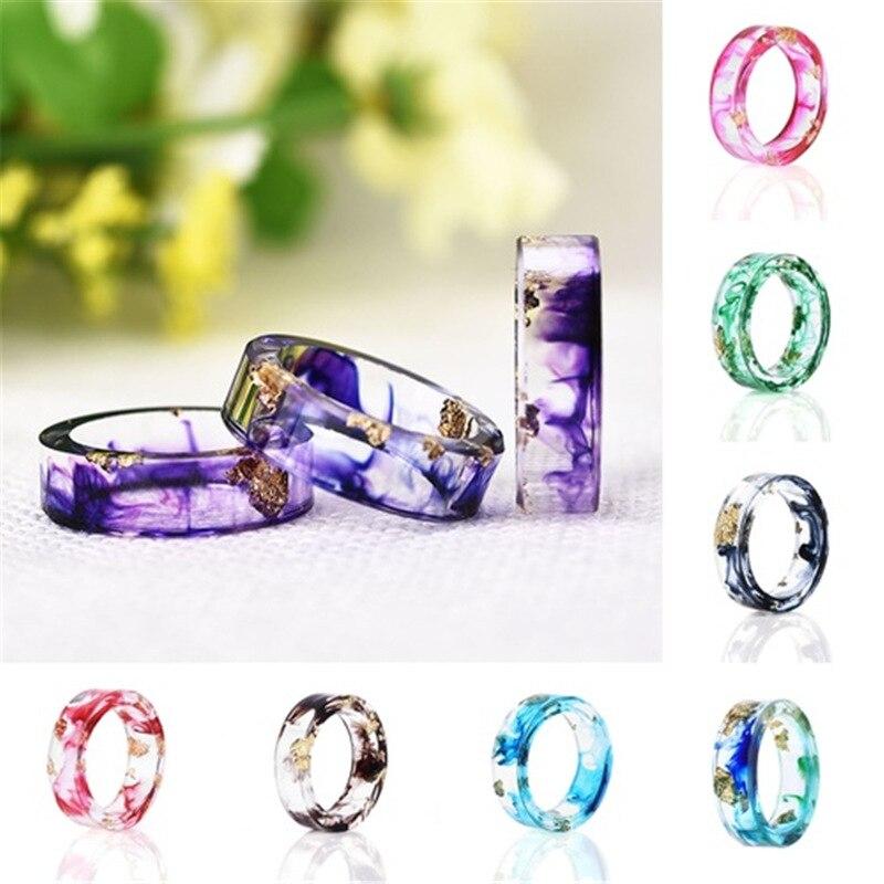 2019 nuevos anillos redondos coloridos para mujeres y hombres anillo de resina de madera transparente hecho a mano flor seca epoxi anillos de fiesta regalo de joyería