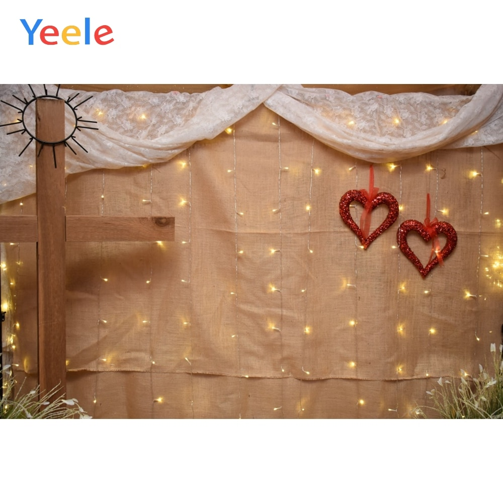 Yeele Wedding Party Curtain Wall Cross Love Hearts Photography Backdrops Personalized Photographic Backgrounds For Photo Studio