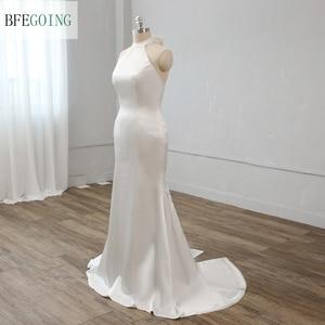 Ivory Soft Satin Halter Neck  Bridal Gown Floor-length Mermaid/Trumpet Wedding Dress Custom Made