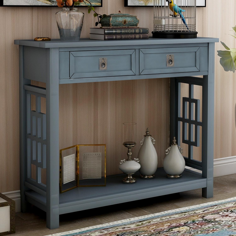 Muebles de cocina consola comedor armario de cocina con 2 cajones estante inferior entrada casa acento sofá Mesa antiguo Azul Marino