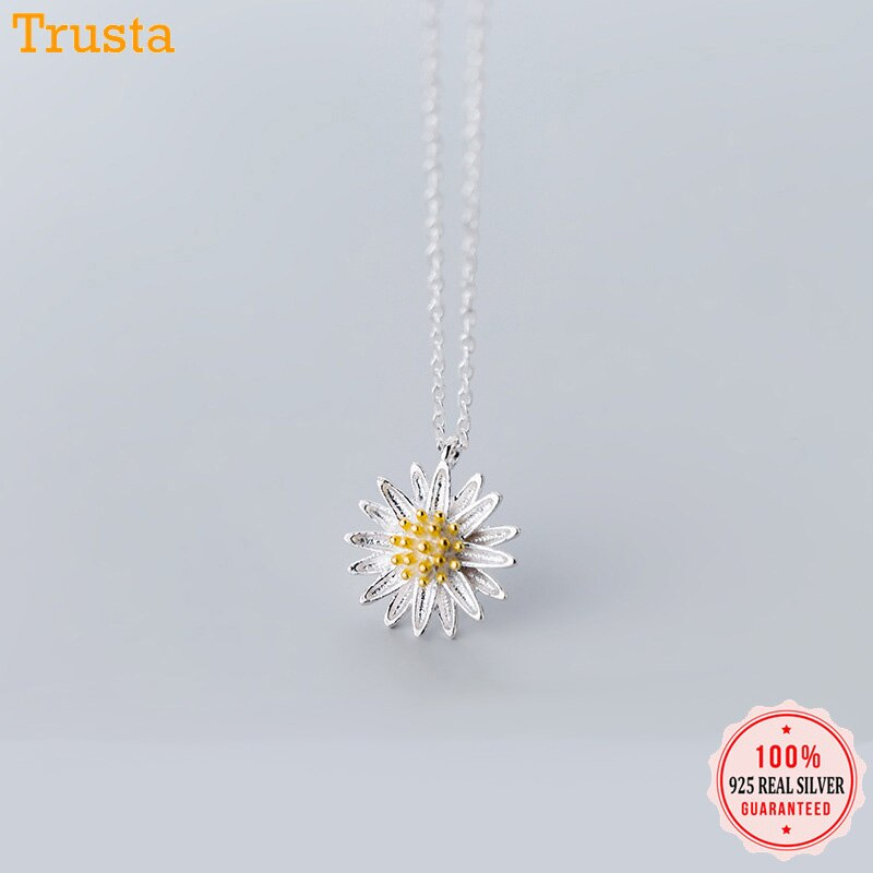 Trustdavis 925 Sterling Silver Chrysanthemum Stud Earring Pendant Necklace Bracelet Anklets For Women Silver 925 Jewelry DA445