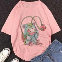 Pokemon women shirt 2020 New Summer Cartoon Cute Pikachu Print shein Harajuku Japanese Kawaii Tops Streetwear womens blouse