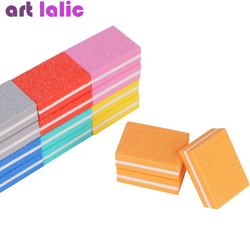 Juego de 10 piezas de almohadillas para pulir uñas, para manicura y pedicura, bloques de lijado, esponja cuadrada