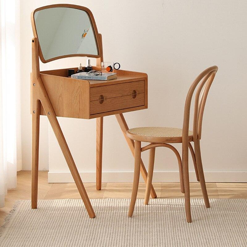 Скандинавский туалетный столик для спальни из массива дерева вишни домашний современный минималистичный туалетный столик с зеркалом шкаф ...