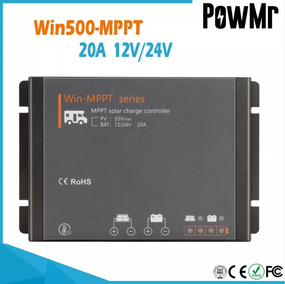 PowMr Win500-MPPT RV جهاز تحكم يعمل بالطاقة الشمسية 50 فولت PV المدخلات الجهد 20A ل هلام AGM السائل بطارية ليثيوم 12 فولت 24 فولت نظام مقاوم للماء IP54