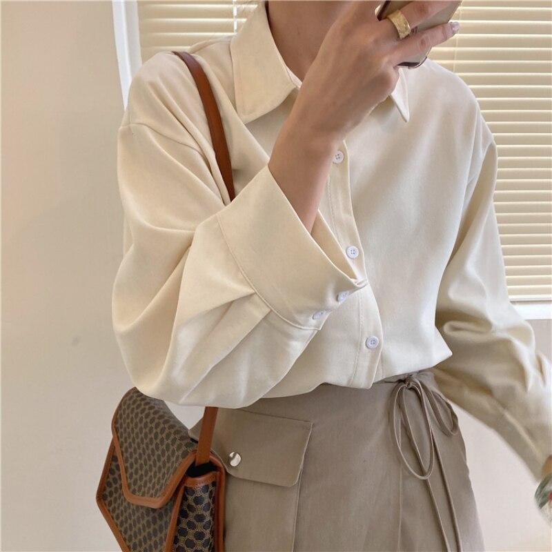 Nuevo 2020 primavera Color caramelo Casual Blusas de mujer solapa de manga larga de un solo pecho Camisas de mujer sueltas Blusas de oficina