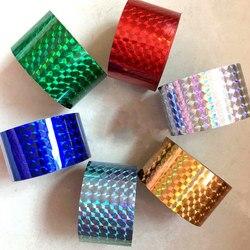 120m/rolo holográfico prego folhas laser grid design transferência de unhas folhas de papel da arte do prego adesivo decalques manicure decoração