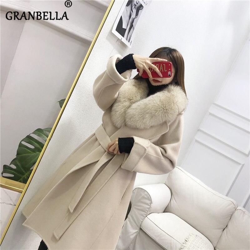 معطف من الصوف على الوجهين مع ياقة من فرو الثعلب الكوري الطبيعي ، معطف دافئ سميك بجيوب كبيرة للنساء ، ملابس خارجية ، معطف شتوي