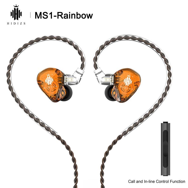 Hidizs MS1 قوس قزح ايفي الصوت الديناميكي الحجاب الحاجز في الأذن رصد سماعة IEM مع انفصال كابل 2Pin 0.78 مللي متر موصل