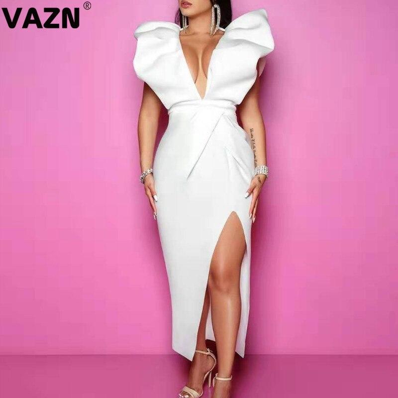 VAZN, nuevo, sin espalda, de alta calidad, fresco, transparente, blanco, Sexy, para discoteca, a la moda, con cuello en V profundo, manga corta, vestido Maxi delgado para mujer