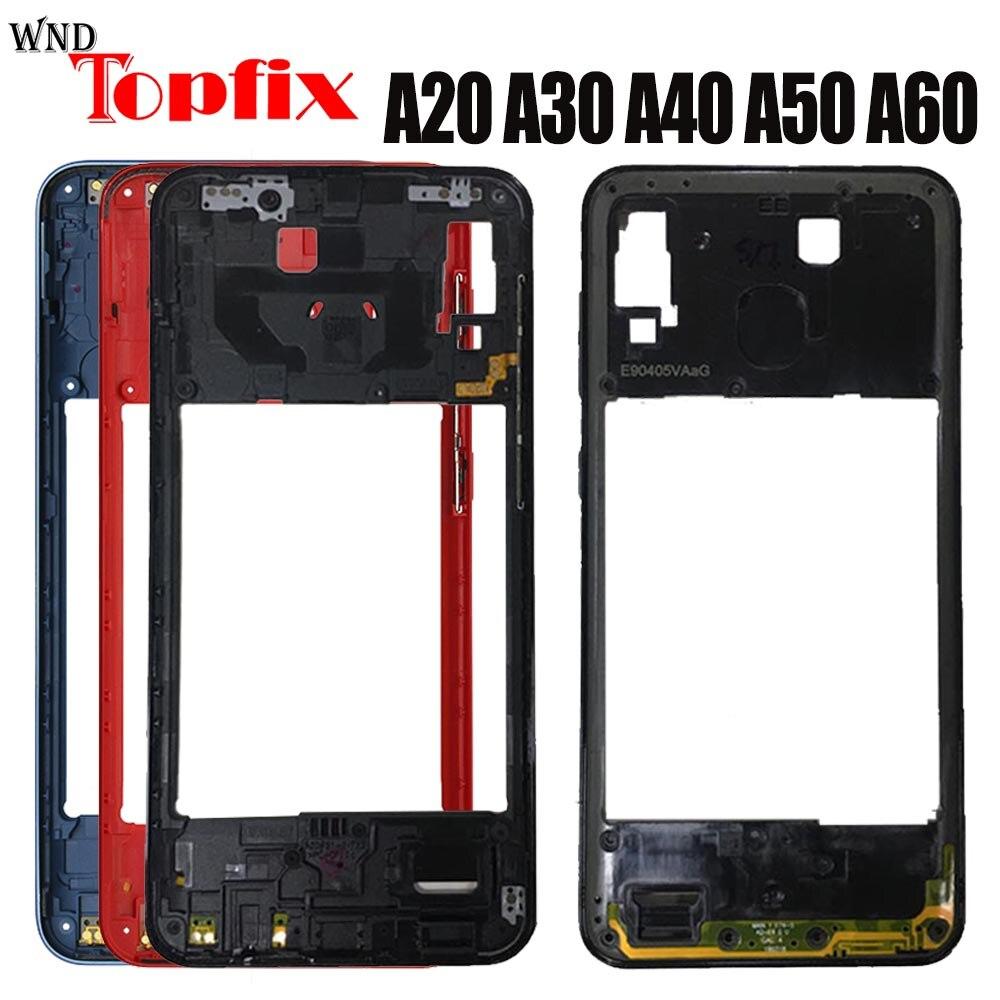 For Samsung A20 A30 A40 A50 A60 A205F A305F A405F A505F A606F Front Housing LCD Frame Middle Frame Back Plate Housing Back Cover