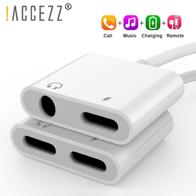 ¡! ACCEZZ para iPhone Adaptador 2 en 1 para Apple iPhone XS MAX XR X 7 8 Plus IOS 12 Jack de 3,5mm de auriculares adaptador de Cable Aux divisor