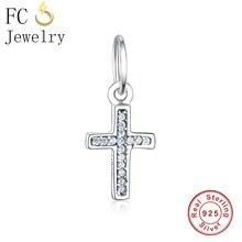 FC Jewelry Fit Original Pandora Charm Bracelet Necklace 925 Silver Cross Zircon Crucifix Reflexions Bead Pendant Making Berloque