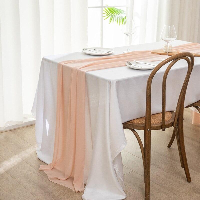 2021 جميلة الشيفون الجدول عداء Tablecloth الزفاف الزفاف الزفاف ديكور المنزل كرسي وشاح ديكور الحفلات مأدبة لوازم 1 قطعة