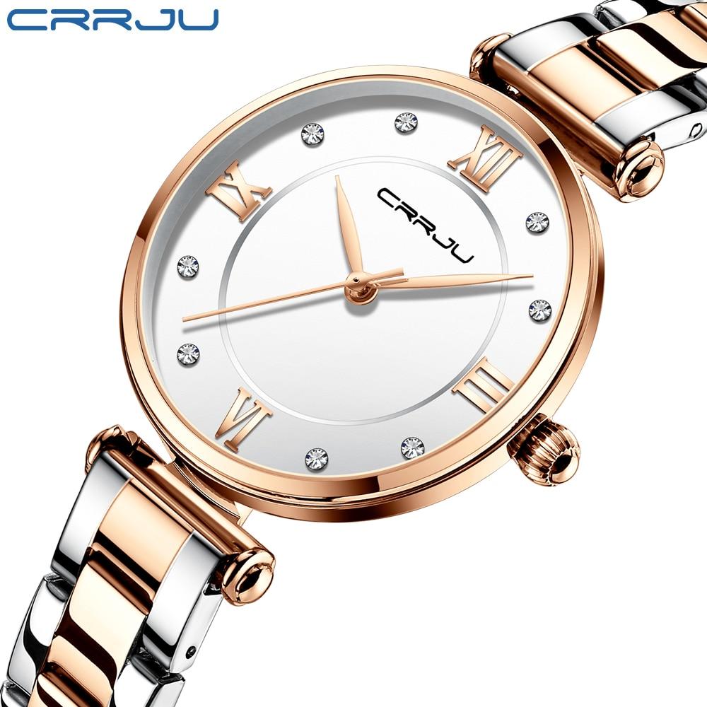 CRRJU Women Watches Famous Luxury Brand Stainless Steel Elegant Women Quartz Watches Fashion Reloj Mujer Ladies Dress Watch