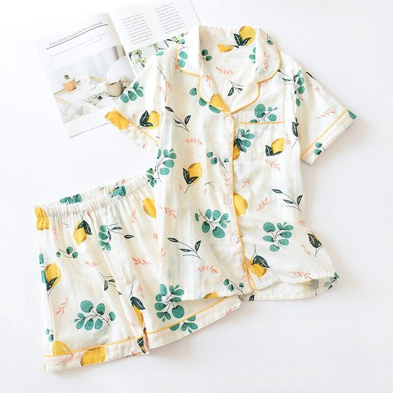 Pijamas 100% de algodón para mujer, pantalones cortos de manga corta, conjuntos de pijama para mujer, bonitos Pijamas japoneses con estampado de dibujos animados