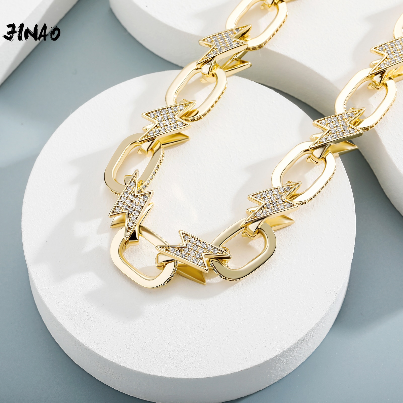 Get JINAO 2021 NEW Fashion Miami Spring Clasp Cuban Link Chain Lightning Necklace Charm Iced Out AAA+ Cubic Zirconia for Men Jewelry