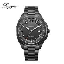 Lugyou Rossini hommes montre mode jeunesse mécanique montre-Bracelet noir plaqué saphir automatique NH35 métal Bracelet 10ATM 519979B02