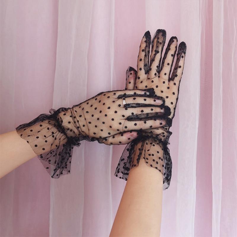 Wanita seksi titik cetak sarung tangan tulle mesh hitam putih wanita pesta prom kelabu, sarung tangan gaun menari
