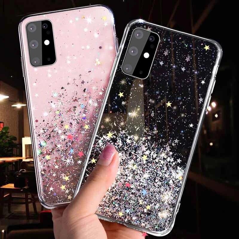Estrelas do Glitter Caso de Telefone Para Samsung Galaxy A20E A10E A10S A51 M01S A20S A71 A81 A91 A01 A21 A31 A41 Protaction 4G Macio Capa