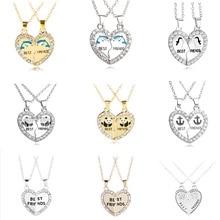 Mode Gold Silber Metall Kristall BFF Anhänger Halskette 2 teile/los Gebrochen Herz Gute Freunde Halskette Kinder Geschenk Schmuck