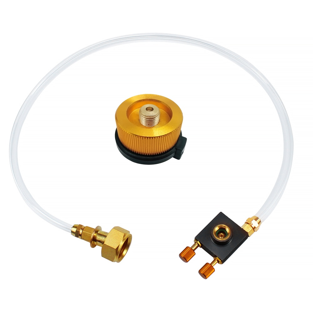 1pc airsoft propane filling adapter for propane gas tank with silicone oil port outdoor camping hiking stove burner adaptor Outdoor Camping Gas Stove Propane Refill Adapter Gas Flat Cylinder Tank Coupler Adaptor Gas Charging With Pressure Relief Valve